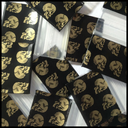 "1034 Apple Mini Gold Skull Design Plastic 100 Ziplock Bags Baggies 1"" X 3/4"" Zip"