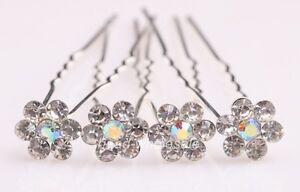New-20pcs-Bridal-Party-Wedding-Clear-Crystal-Flower-Style-Rhinestone-Hair-Pins
