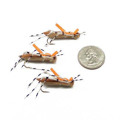 Morrish Hopper Foam Grasshopper Fly Terrestrial Trout Flies 3 Flies Size 12
