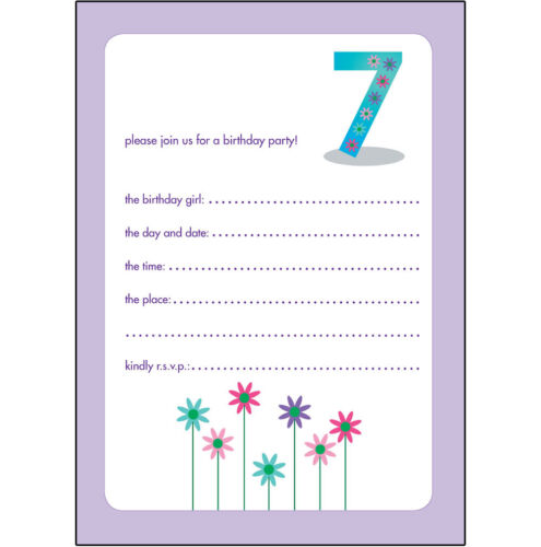 BPIF-34 Flower 10 Childrens Birthday Party Invitations 7 Years Old Girl NICE