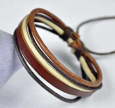 Cool Surfer Men's Adjustable Multi Leather & Hemp Wristband Bracelet Bangle D3
