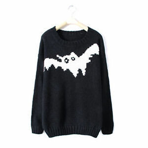 Fashion-Knitted-Sweater-With-Bat-Print-Jumper-Pullover-Coat-Black-Color