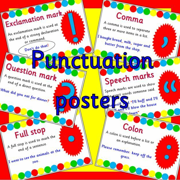 Punctuation Posters for Literacy on CD- KS1- New Curriculum 2014- resources