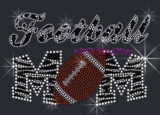 Zebra Football Mom Rhinestone Iron On Transfer Hot Fix Bling Sports