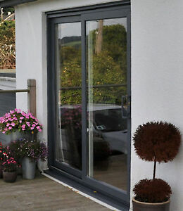 Upvc sliding patio doors grey black cream irish oak for Upvc french doors grey