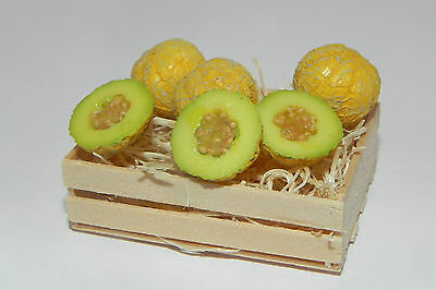 Diorama Dollhouse Fruit Melon Honey Dew Miniature Set of 6 in Wooden Crate Food