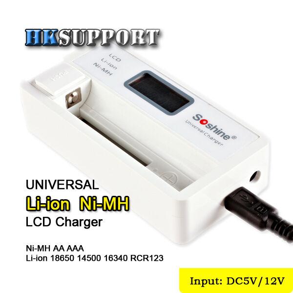 Soshine SC-S7 LCD 18650 Battery Charger (18500 14500 16340 RCR123A AA AAA) - US