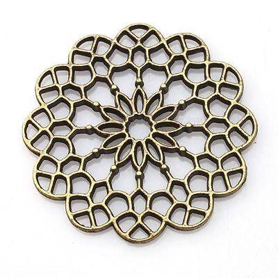 15x 144126 Wholesale Vintage Bronze Carved Flower Hollow Charms Alloy Pendant