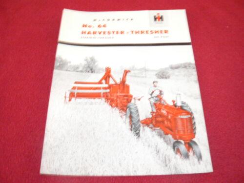 International Harvester No.64 Combine Harvester Thresher Dealer/'s Brochure