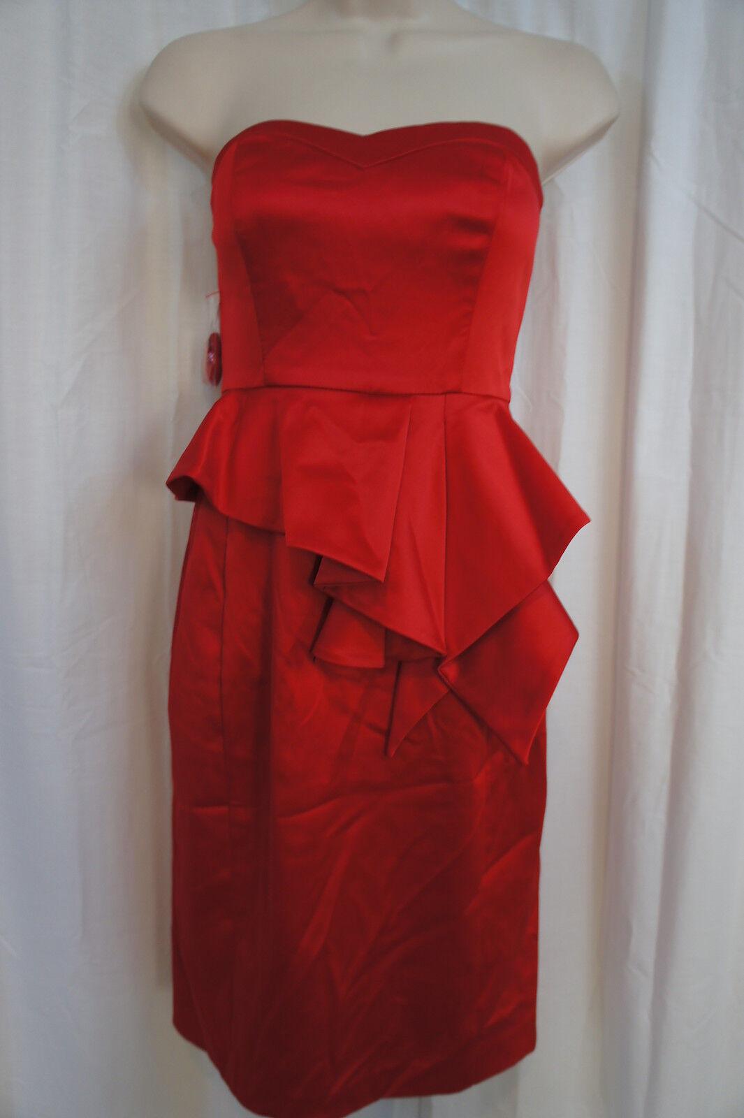 Jessica Simpson Kleid Gr. Tango Rot Trägerlos Abend Cocktail