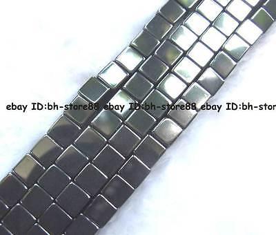 2,4,6,8mm Natural Hematite Square cube Beads 15''