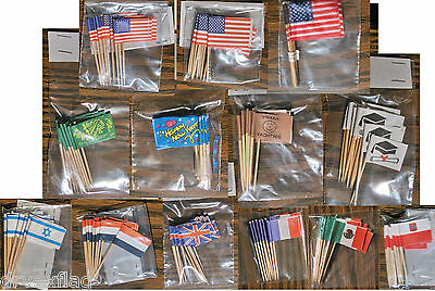 Toothpick Flags:New Year-Birthday-Bragh-Graduation-USA-France-Mexico-UK-Poland