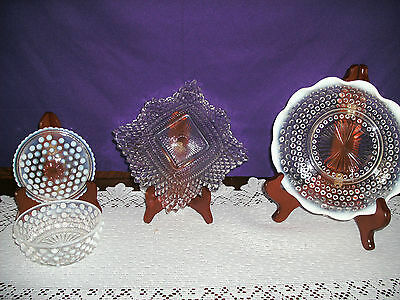 "FIREKING MOONSTONE 4 1/2 "" DISH WITH LID, 7 3/4"" DISH AND 6"" CLEAR GLASS DISH"