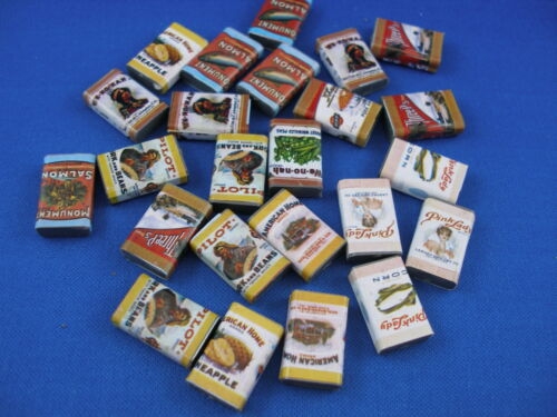 MINIATURE DOLLHOUSE-24 CANS VINTAGE FOOD FOR DOLL KITCHEN B