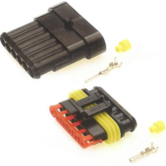 SUPERSEAL CONNECTORS 6 WAY KIT. MALE & FEMALE. WATERPROOF CONNECTORS. 12V/24V.