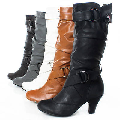 Ladies Dress Mid Calf Buckle Kitten High Heels Faux Leather Womens Slouch Boots