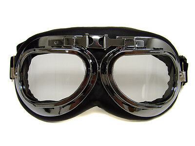 Helmet Steampunk Chrome Motorcycle Flying Goggles Vintage Pilot Biker Clear Lens