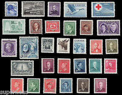SUPERFLEAS 30 OLD Canada postage stamp LOT 1940 - 1960 **Mint Never Hinged