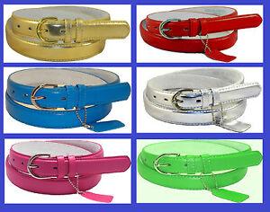 WOMEN-LADIES-Skinny-Leather-Belt-LEATHER-Silver-Buckle