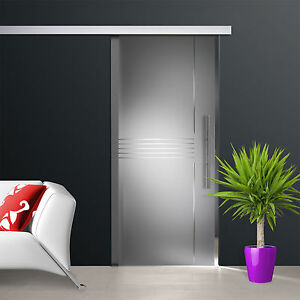 Glass-Sliding-Door-sd685-s-ag50-satinato-Crystal-grooves-cut-and-handle-bar