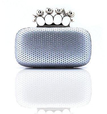 Silver Sequin Diamante Rhinestone Clip Knuckle Evening Hard Clutch Handbag Bag
