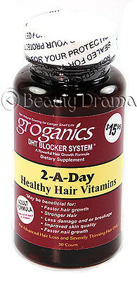 Groganics 2-A-Day Healthy Hair Vitamins DHT Blocker System Hair Loss Thinning