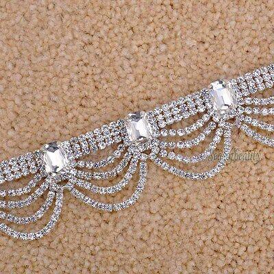 1 Yard Luxury Rhinestone Silver Wedding Women Bridal Dress Costume Trim Applique