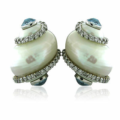 Seaman Schepps 18k White Gold Aquamarine Diamond Shell Earrings