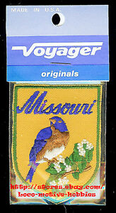 LMH-PATCH-Badge-MISSOURI-State-Bird-BLUEBIRD-Flower-HAWTHORN-yellow-2-3-4-034