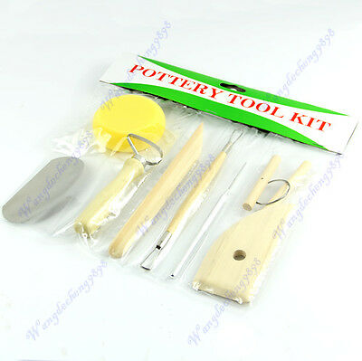 8 pcs Pottery Wax Clay Ceramics Molding Carving Sculputure Making Hand Tool Set
