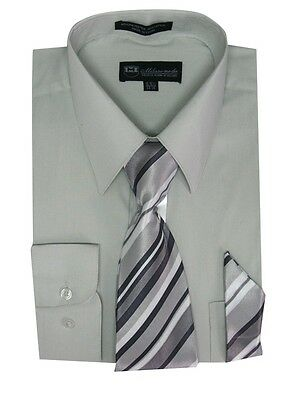 Milano Moda Men's Classic Dress Shirt with Tie and Handkerchief 25 colors SG21A