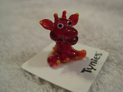 GIGI Giraffe RED animal TYNIES Tiny Glass Figure Figurines Collectibles 0138