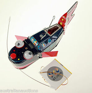 SPACE WHALE SHIP TIN TOY RETRO REPRODUCTION SPARKS MOVES AND FLAPS COLLECTABLE