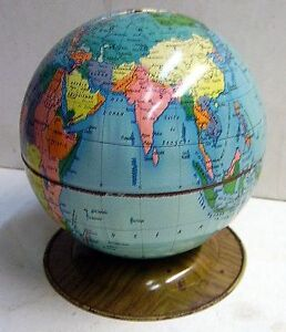 tirelire globe terre mappemonde tole jouets mont blanc ebay. Black Bedroom Furniture Sets. Home Design Ideas
