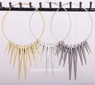 3pairs Fashion Big Loop Acrylic Spike Charms Basketball Wives Earrings Popular
