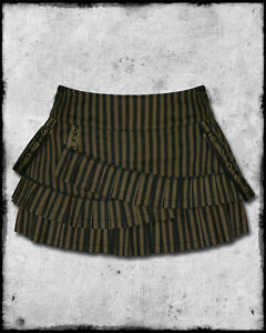 Spin-Doctor-Lillith-Black-Brown-Bronze-Copper-Stripe-Strap-Steampunk-Mini-Skirt