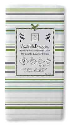 New Swaddle Designs Receiving Swaddling Blanket Green Kiwi Sterling Stripes