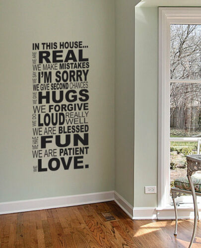 130x60cm Removable In This House Words Vinyl Wall Paper Decal Art Sticker X483