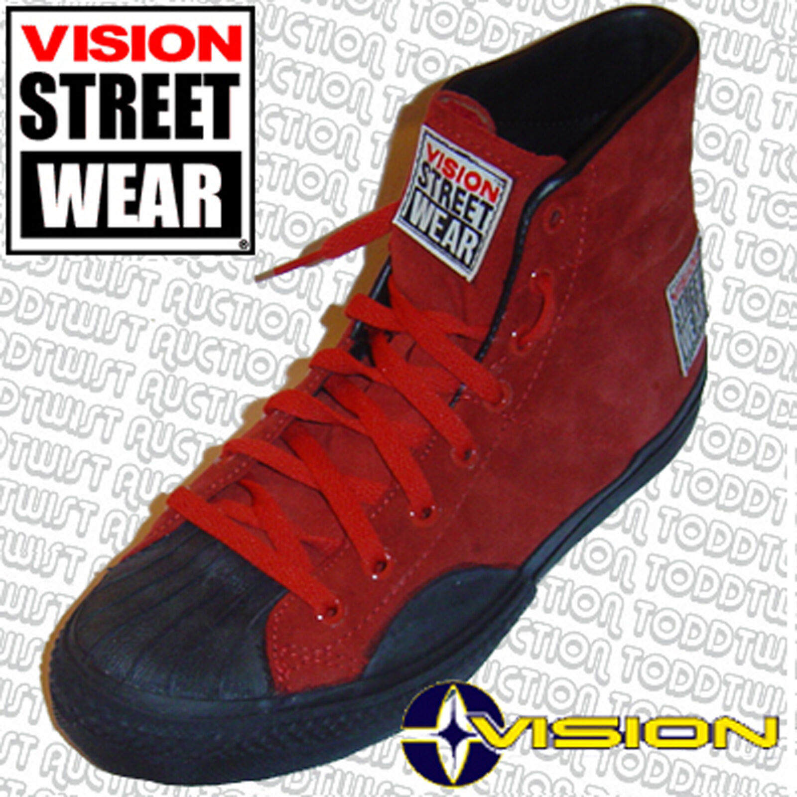 VISION STREET WEAR Suede '80s Skateboard Shoes Red Size Hi Tops - Size Red 3 UK / 4 USA 8fb230
