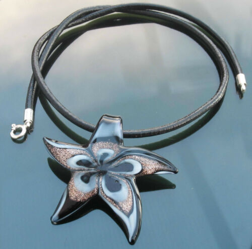 Cuero Genuino Collar Con Plata 925 extremos Broche Con Cristal De Murano Colgante