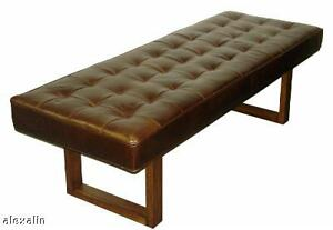 Retro modern leather bench ottoman coffee table ebay Red leather ottoman coffee table