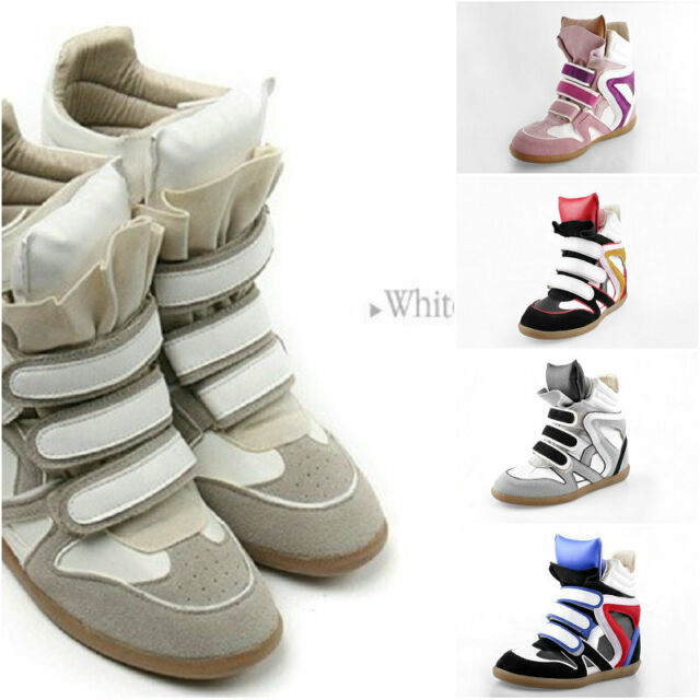 Womens High-Top Strap Sneakers shoes Ladys PU leather+Suede Wedge Ankle Boots