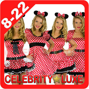 New-Minnie-Mickey-Mouse-Ladies-Fancy-Dress-Up-Party-Costume-Ears-Polka-Dots-Red