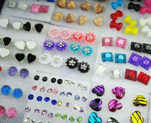 112pcs wholesale jewelry lots Resin Rhinestones mixed fashion Earrings Studs NEW