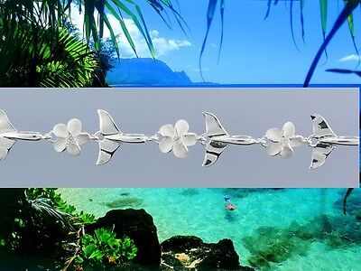 Hawaiian 925 Sterling Silver Whale Tail 8mm Plumeria Flower Bracelet # SBR2891