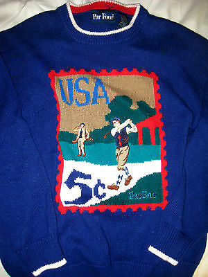 US RYDER CUP SUPPORT USA SOFT RAMIE COTTON FULL FRONT WEAVE GOLF SWEATER-NICE-XL