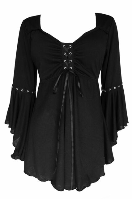 Gothic Victorian Peasant Sexy OPHELIA Corset Top - Classic BLACK