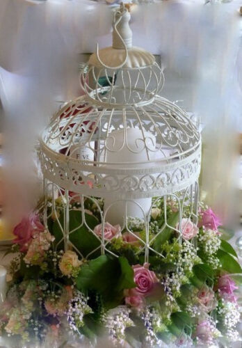 6 LRG WHITE VINTAGE DECORATIVE BIRDCAGES WEDDING BIRD CAGE WEDDING CENTREPIECE