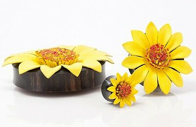 PAIR Yellow Leather Flower Style Plugs Gauges 8,10,12,14,16,18,20,22,24,26,28mm