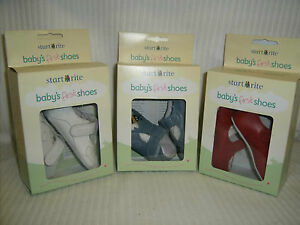 Clarks-Start-Rite-baby-First-Pram-shoes-White-Red-OR-Blue-Leather-FLUTTER-BUMBLE